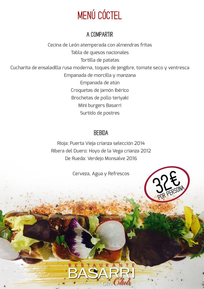 Menú coctel 32 eur