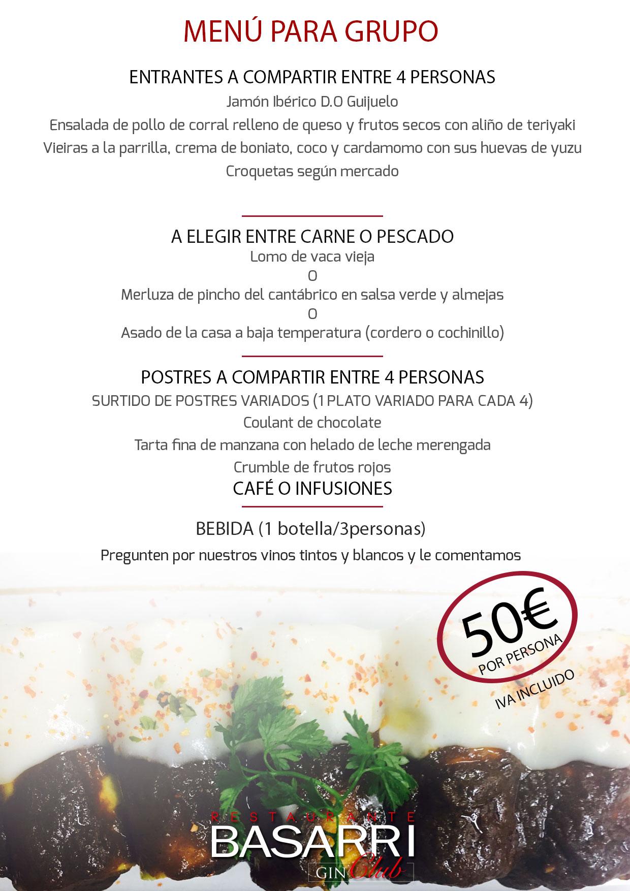 Menú coctel 50 eur